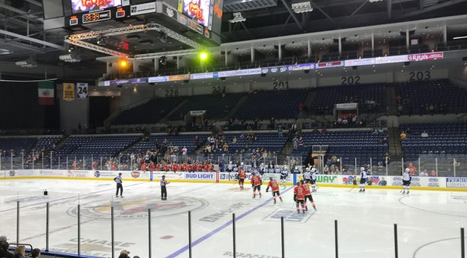 View of Stockton Arena after Stockton Heat scored on Colorado Eagles